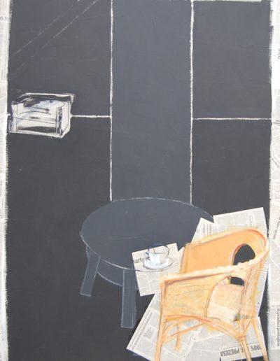 Wnętrze / Interior, akryl + gazety na płótnie, 180/130 cm acrylic + newspapers on canvas, 180/130 cm.