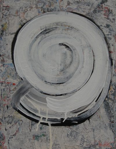 Ślimak/Snail Shell, akryl+gazety na płótnie, 46/33 cm. acrylic+newspapers on canvas, 46/33 cm.