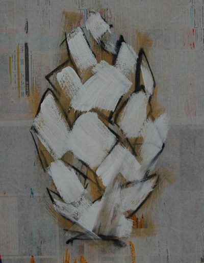 Szyszka/The Cone, akryl+gazety na płótnie, 46/33 cm. acrylic+newspapers on canvas, 46/33 cm.