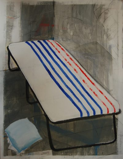 Łóżko Polowe/Camp Bed, akryl+gazety na płotnie, 160/120 cm. acrylic+newspapers on canvas, 160/120 cm.