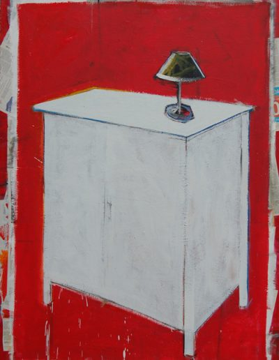 Szafka/Cupboard, akryl+gazety na płótnie, 180/130 cm. acrylic+newspapers on canvas, 180/130 cm.