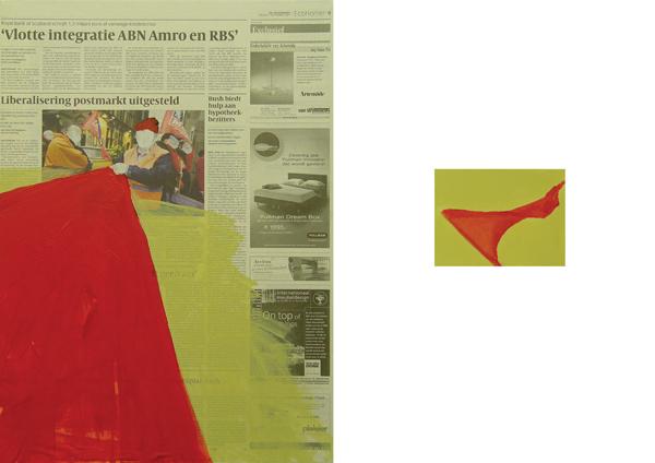 Daily News 07.12.07, akryl+gazety na płótnie, 52/41 cm. oraz 10/15 cm. acrylic+newspapers on canvas, 52/41 cm. and 10/15 cm.