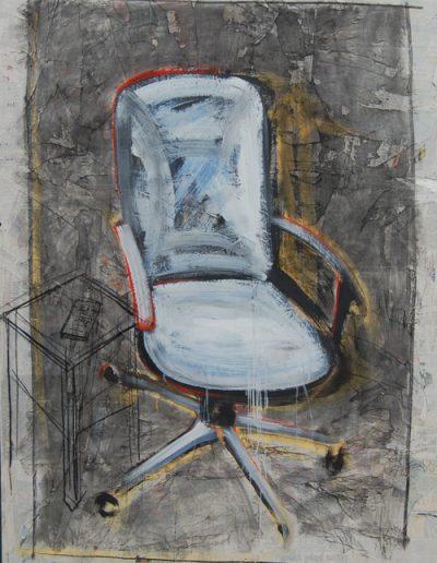 Biały Fotel/White Armchair, akryl+węgiel+gazety na płotnie, 180/130 cm. acrylic+charcoal+newspapers on canvas, 180/130 cm.
