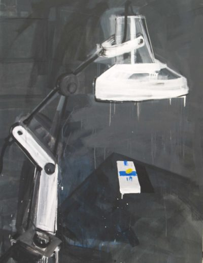 Lampa/Lamp, akryl+gazety na płótnie, 200/150 cm. acrylic+newspapers on canvas, 200/150 cm.