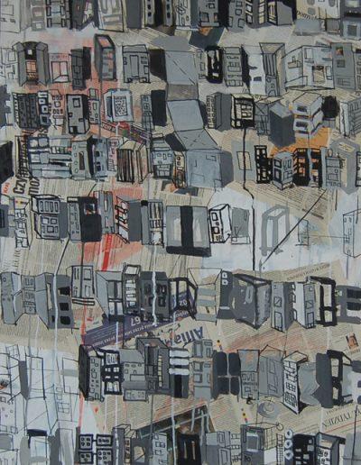 Roombeek 1, akryl+gazety na płótnie, 100/70 cm. acrylic+newspapers on canvas, 100/70 cm.