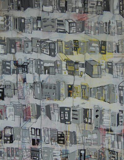 Roombeek 2, akryl+gazety na płótnie, 100/70 cm. acrylic+newspapers on canvas, 100/70 cm.
