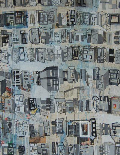 Roombeek 3, akryl+gazety na płótnie, 100/70 cm. acrylic+newspapers on canvas, 100/70 cm.