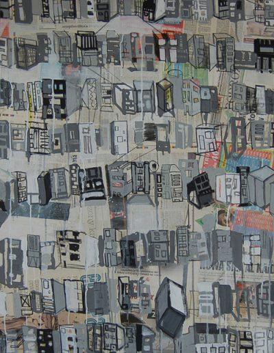 Roombeek 4, akryl+gazety na płótnie, 100/70 cm. acrylic+newspapers on canvas, 100/70 cm.