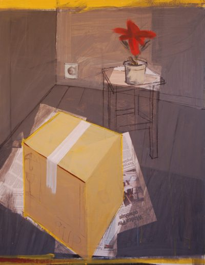 Pudło/The Box, akryl+gazety na płótnie, 120/100 cm. acrylic+newspapers on canvas, 120/100 cm.
